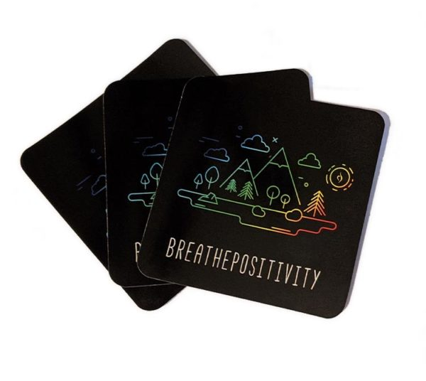 breathe positivity stickers