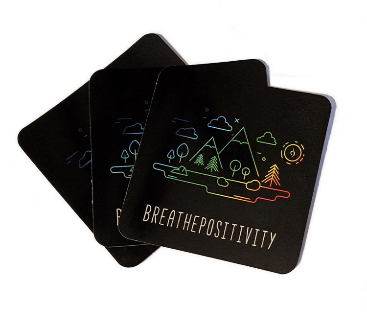 breathe positivity stickers